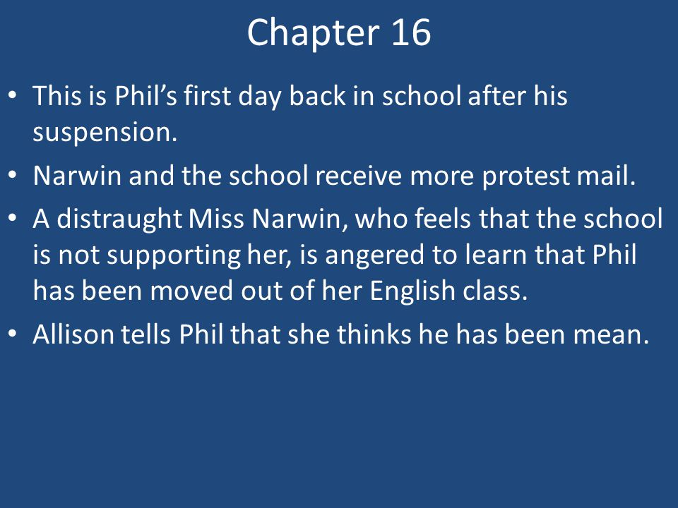 Chapter 16 This is Phil's first day back in school after his suspension. Narwin and the school receive more protest mail.