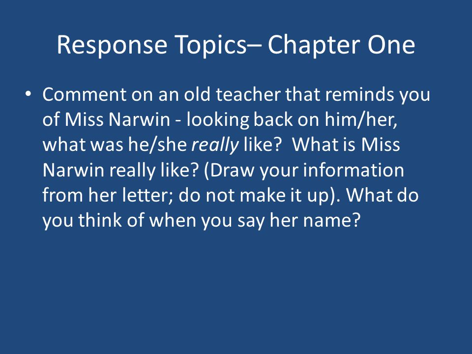 Response Topics– Chapter One