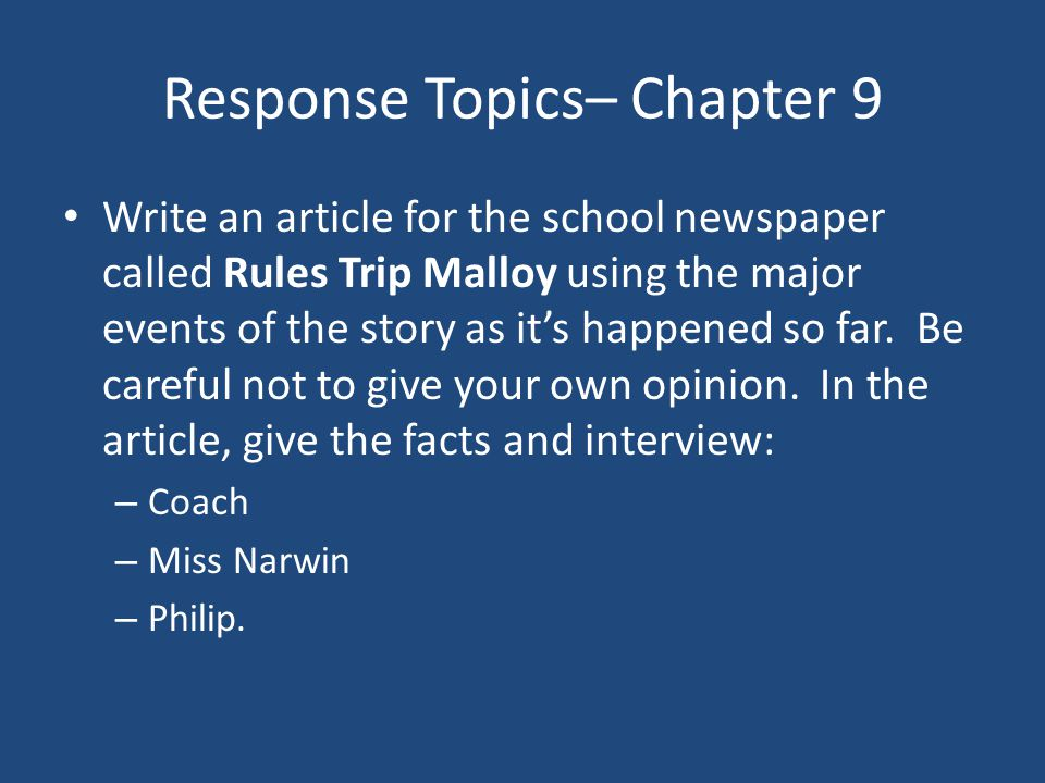 Response Topics– Chapter 9