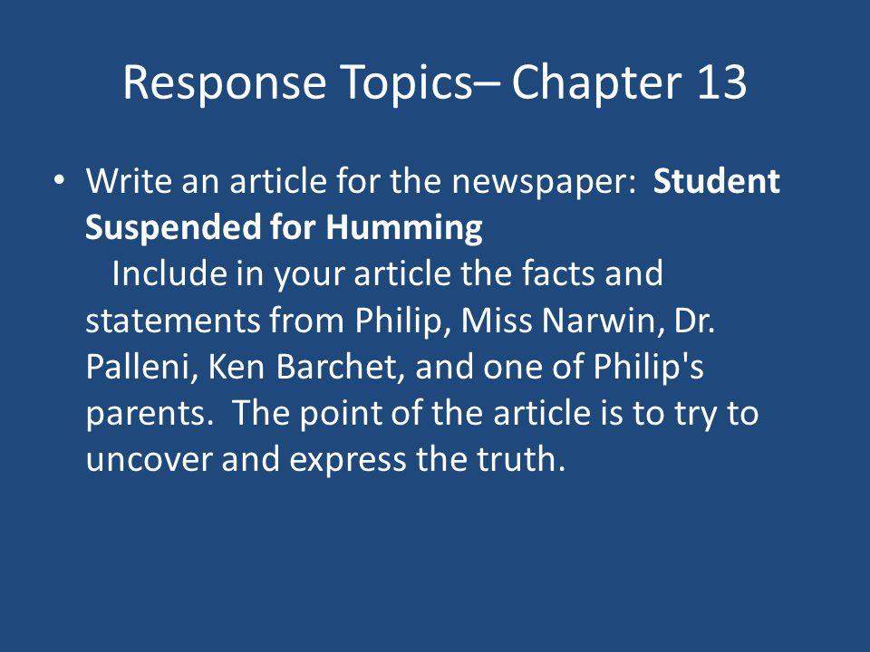Response Topics– Chapter 13