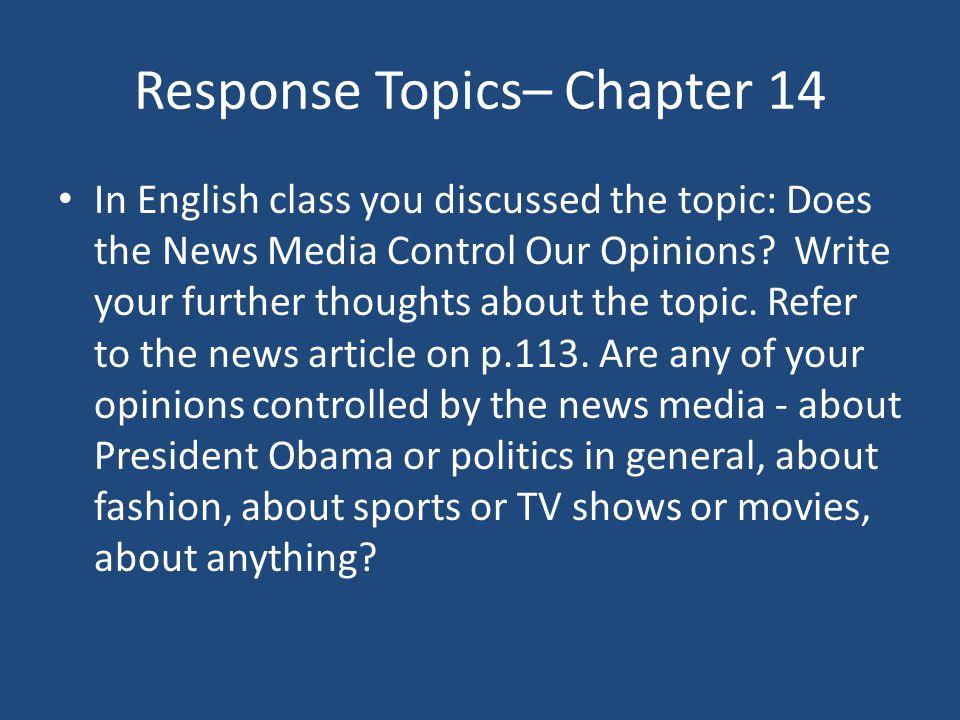 Response Topics– Chapter 14
