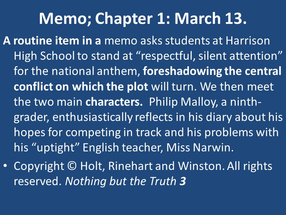 Memo; Chapter 1: March 13.
