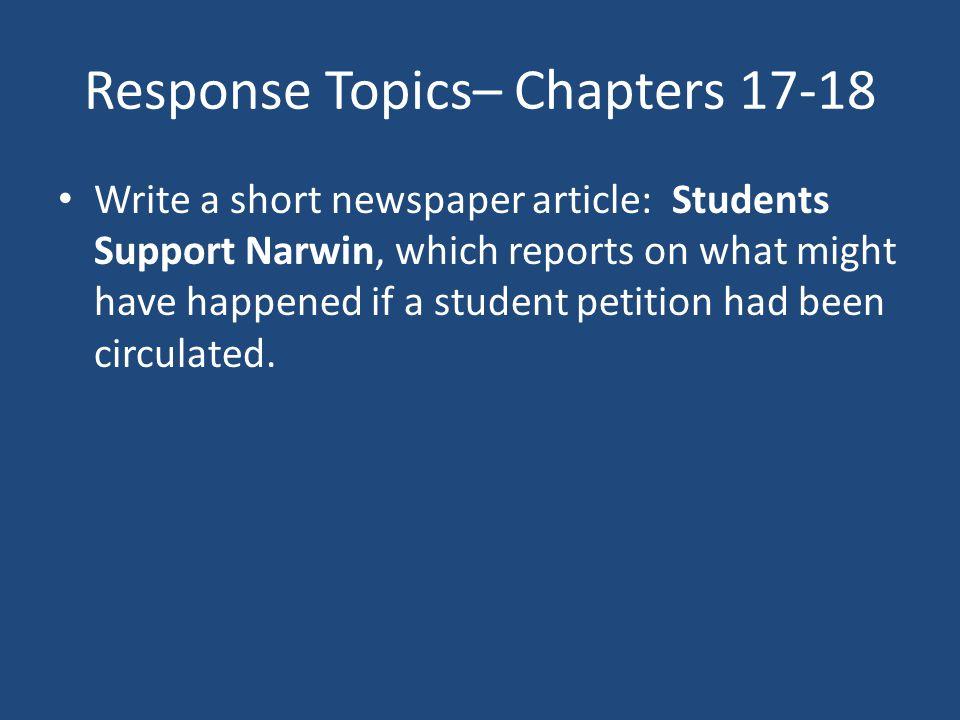 Response Topics– Chapters 17-18
