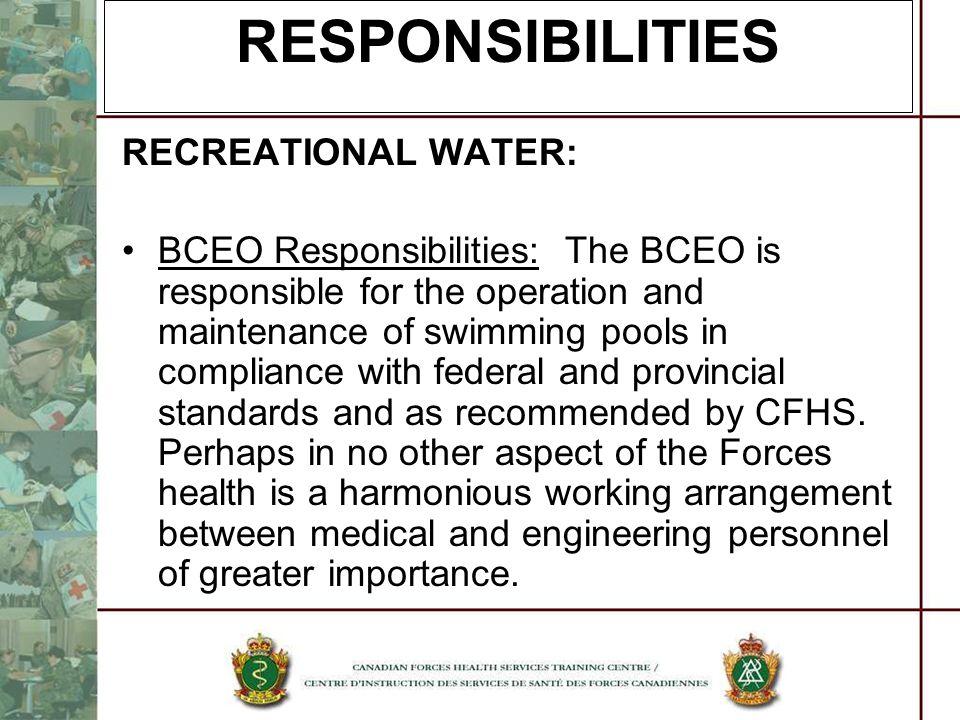 RESPONSIBILITIES RECREATIONAL WATER: