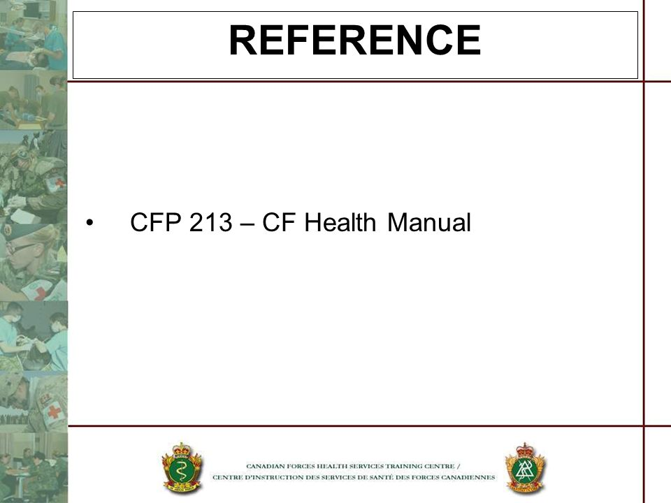REFERENCE CFP 213 – CF Health Manual