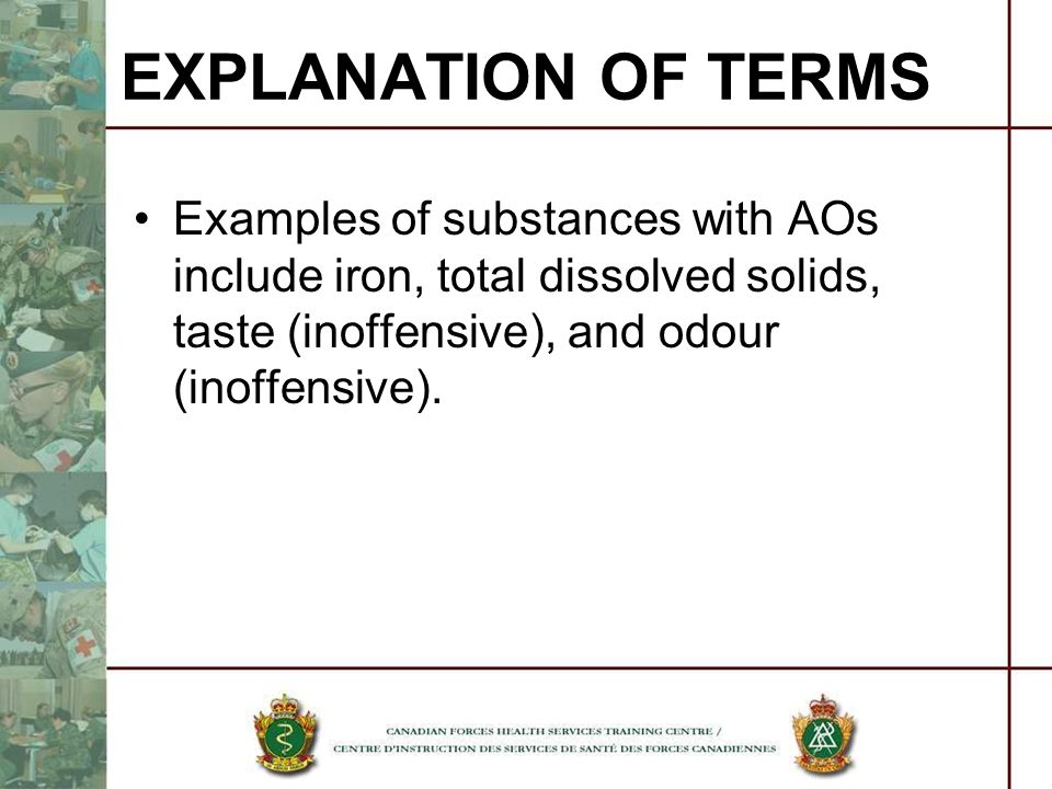 EXPLANATION OF TERMS Examples of substances with AOs include iron, total dissolved solids, taste (inoffensive), and odour (inoffensive).