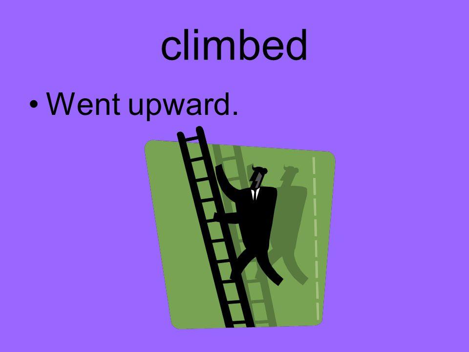 climbed Went upward.