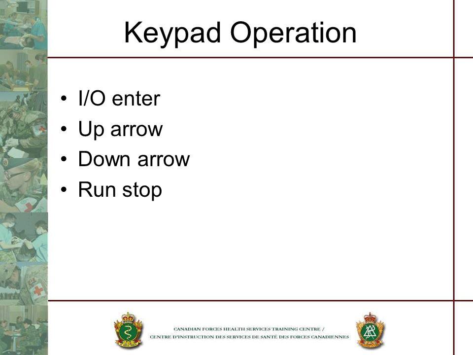 Keypad Operation I/O enter Up arrow Down arrow Run stop