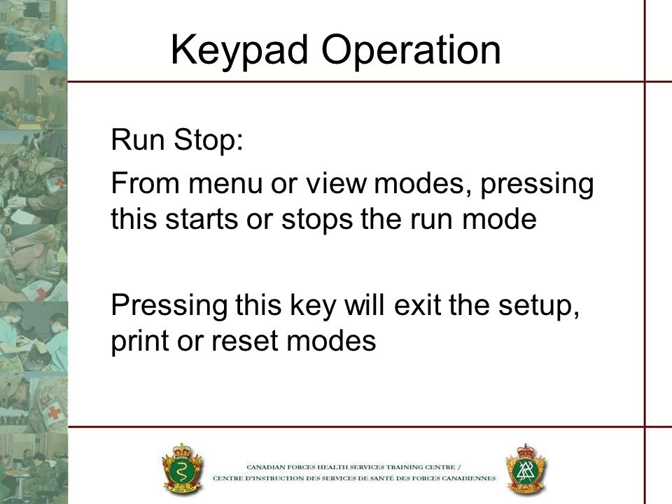 Keypad Operation Run Stop: