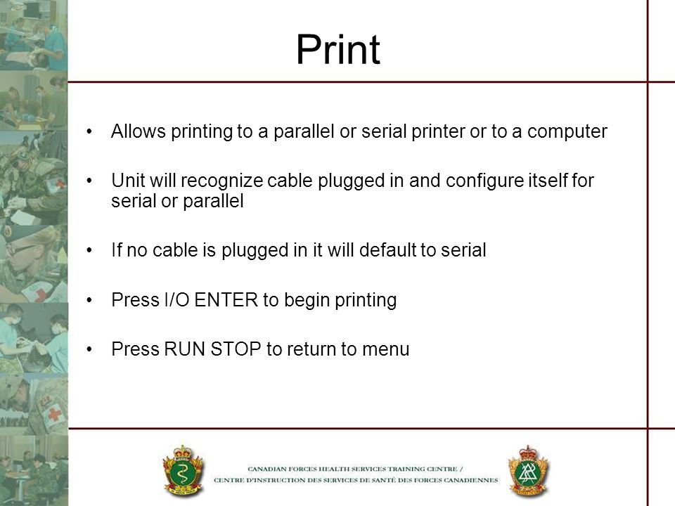 Print Allows printing to a parallel or serial printer or to a computer