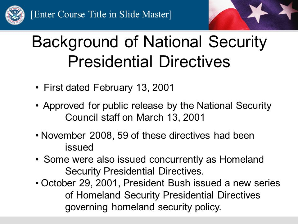 Background of National Security Presidential Directives