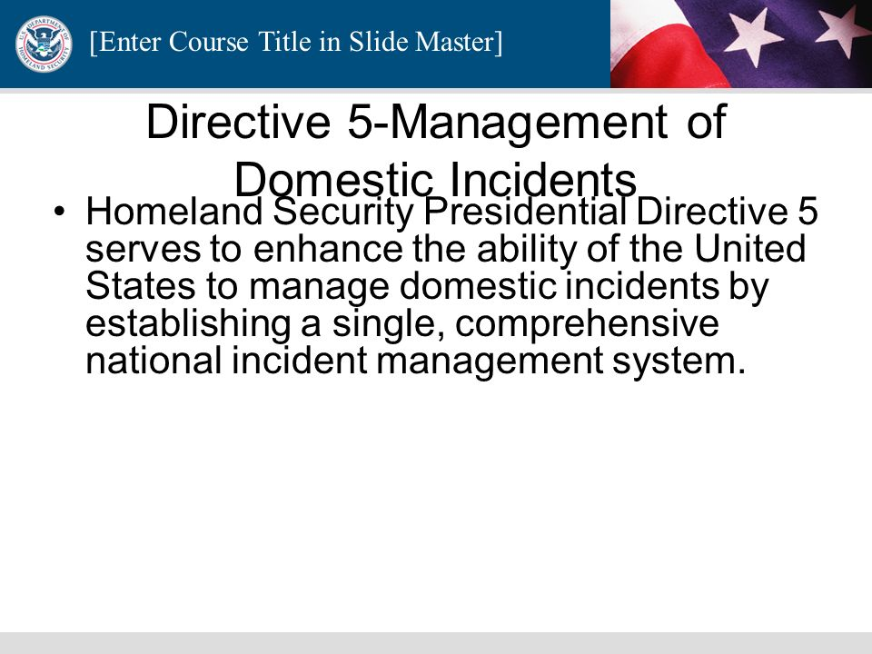 Directive 5-Management of Domestic Incidents