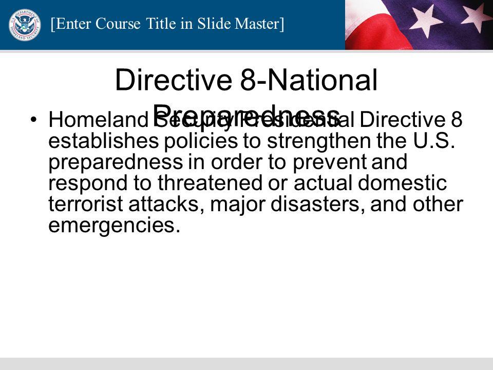 Directive 8-National Preparedness