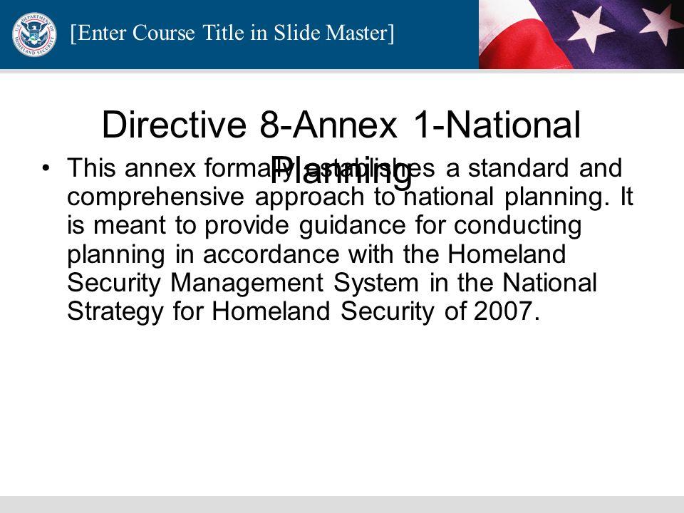 Directive 8-Annex 1-National Planning