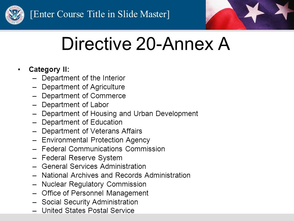 Directive 20-Annex A Category II: Department of the Interior