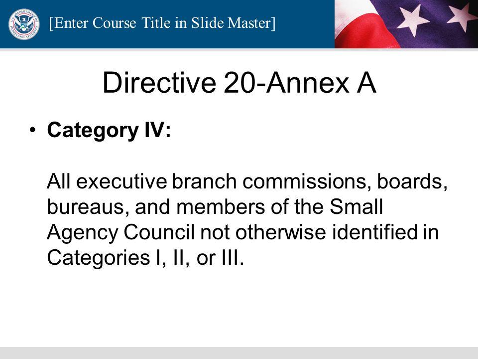 Directive 20-Annex A