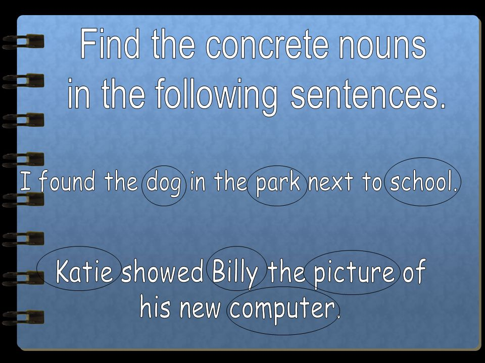 Find the concrete nouns in the following sentences.