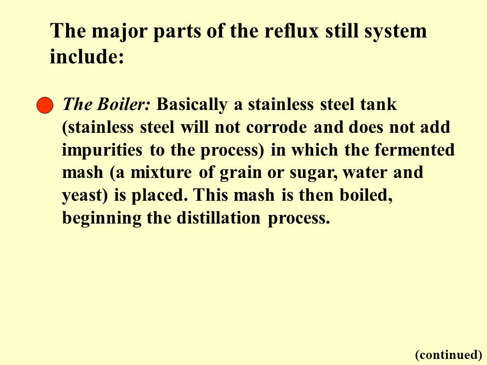 The major parts of the reflux still system include: