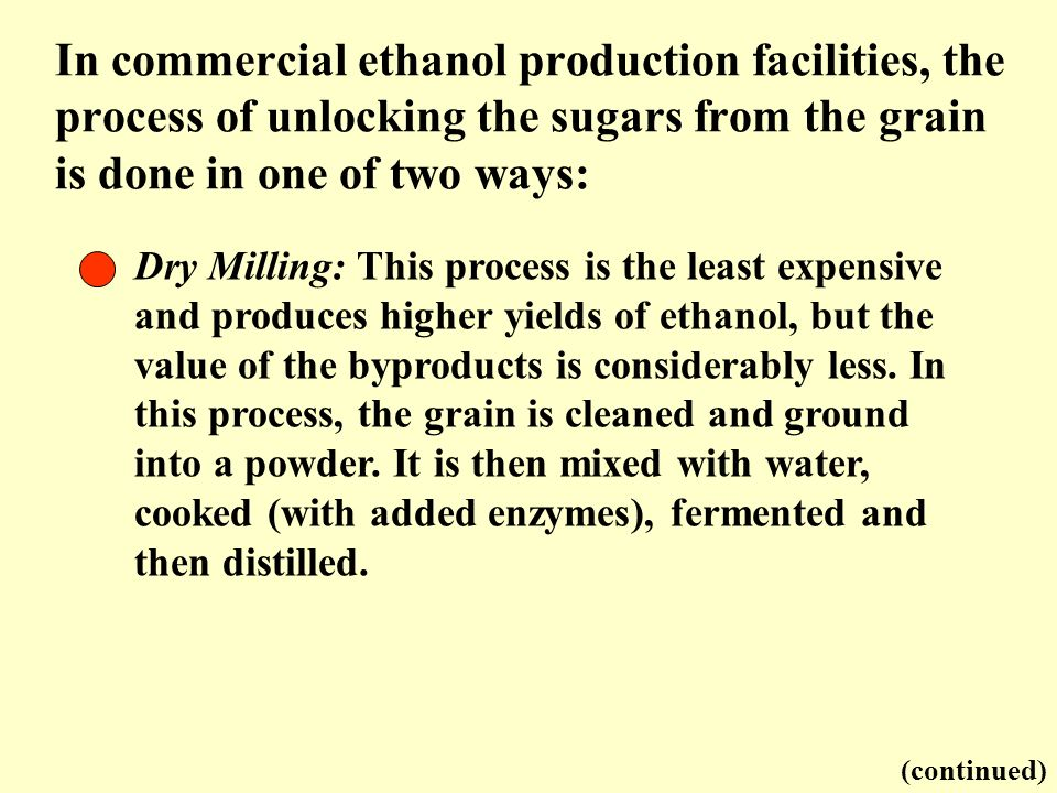 In commercial ethanol production facilities, the process of unlocking the sugars from the grain is done in one of two ways: