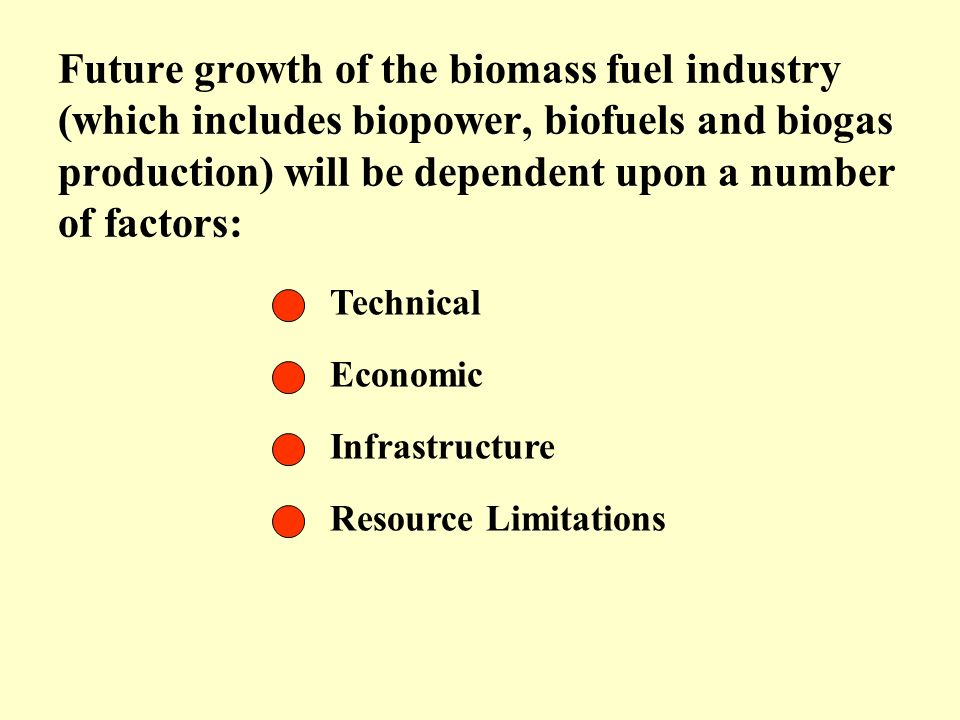 Future growth of the biomass fuel industry (which includes biopower, biofuels and biogas production) will be dependent upon a number of factors: