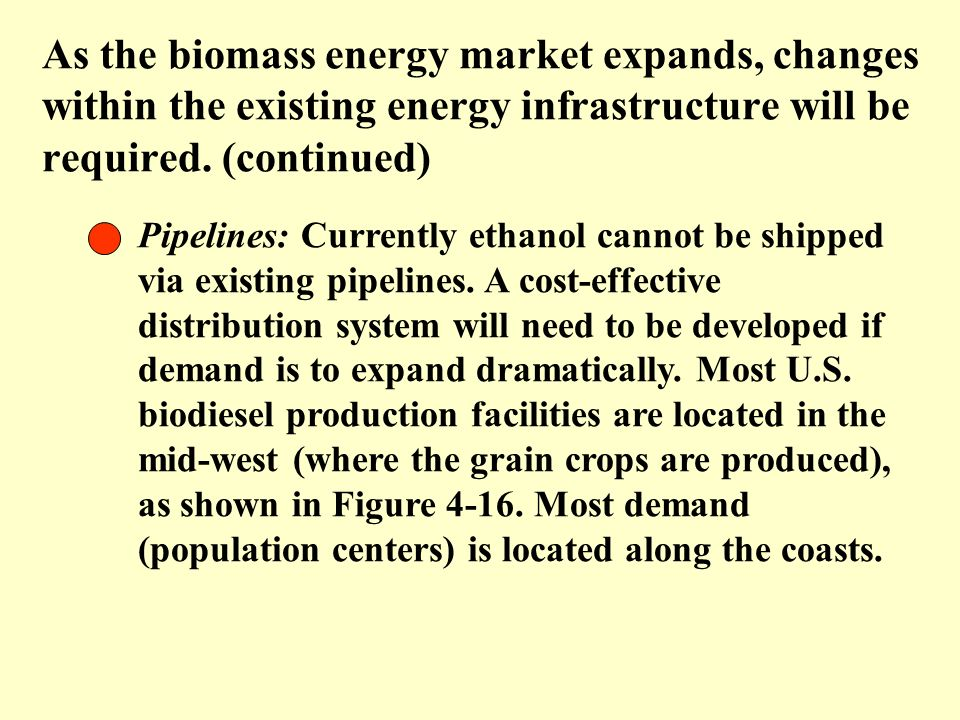 As the biomass energy market expands, changes within the existing energy infrastructure will be required. (continued)