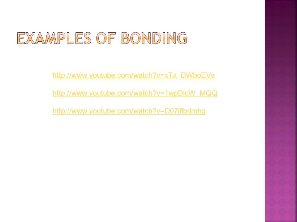 Examples of Bonding http://www.youtube.com/watch v=xTx_DWboEVs