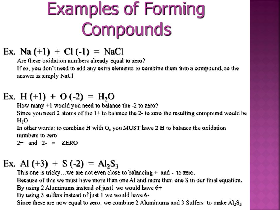 Examples of Forming Compounds