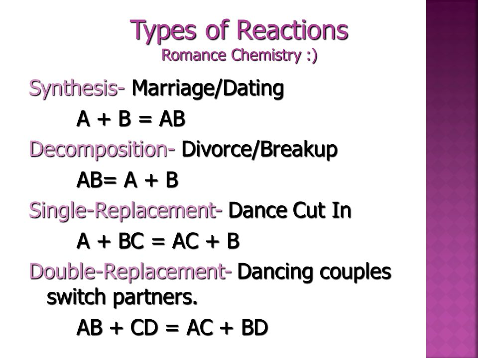 Types of Reactions Romance Chemistry :)