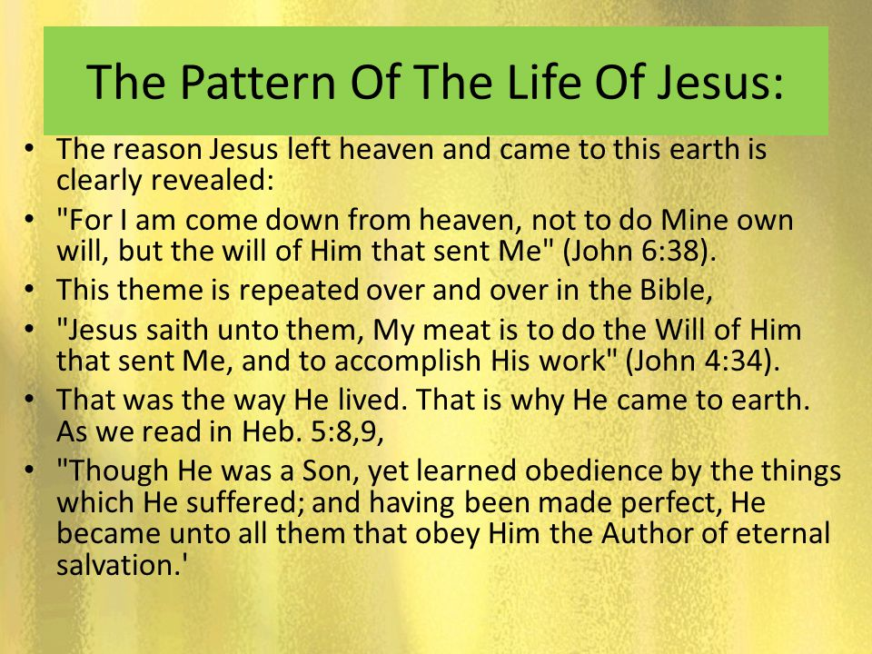 The Pattern Of The Life Of Jesus:
