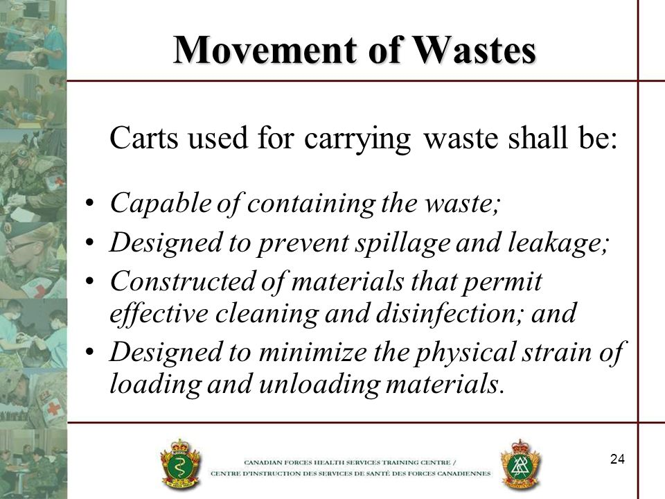 Movement of Wastes Carts used for carrying waste shall be: