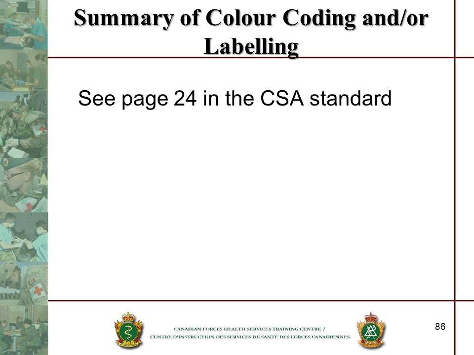 Summary of Colour Coding and/or Labelling