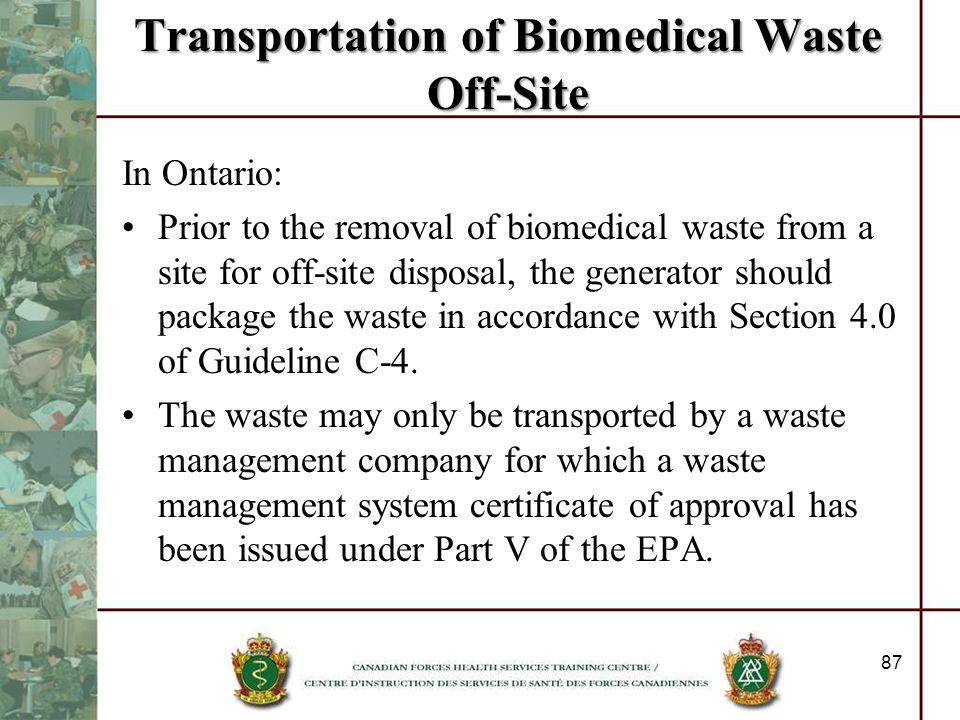 Transportation of Biomedical Waste Off-Site
