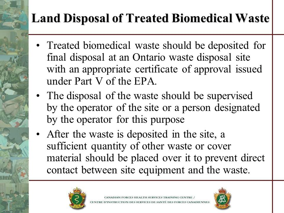 Land Disposal of Treated Biomedical Waste