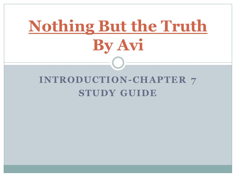Nothing But the Truth By Avi