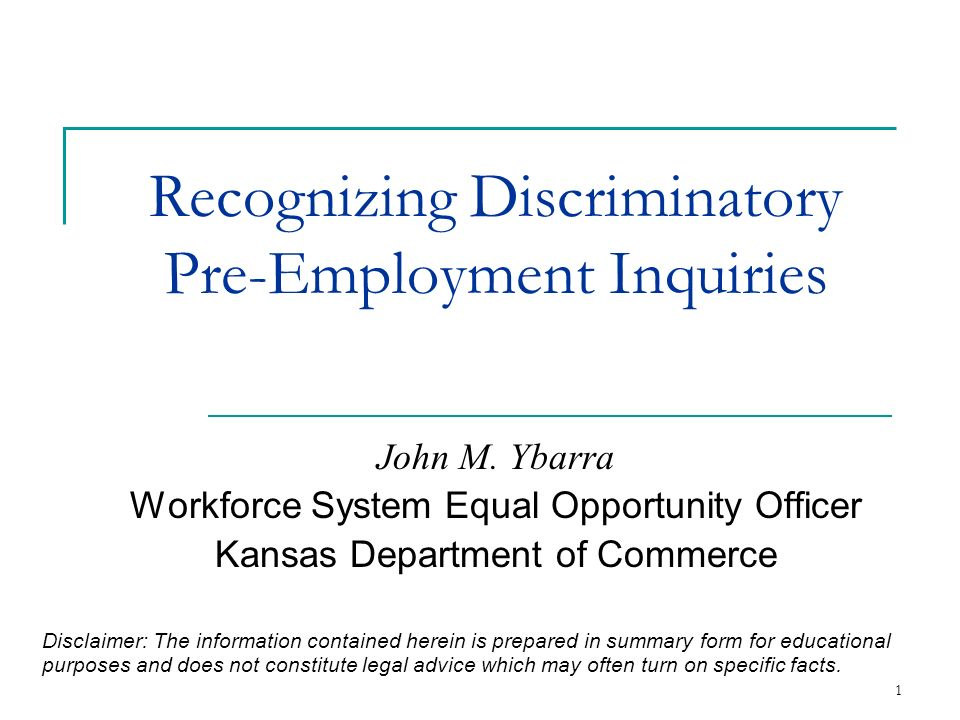 Recognizing Discriminatory Pre-Employment Inquiries