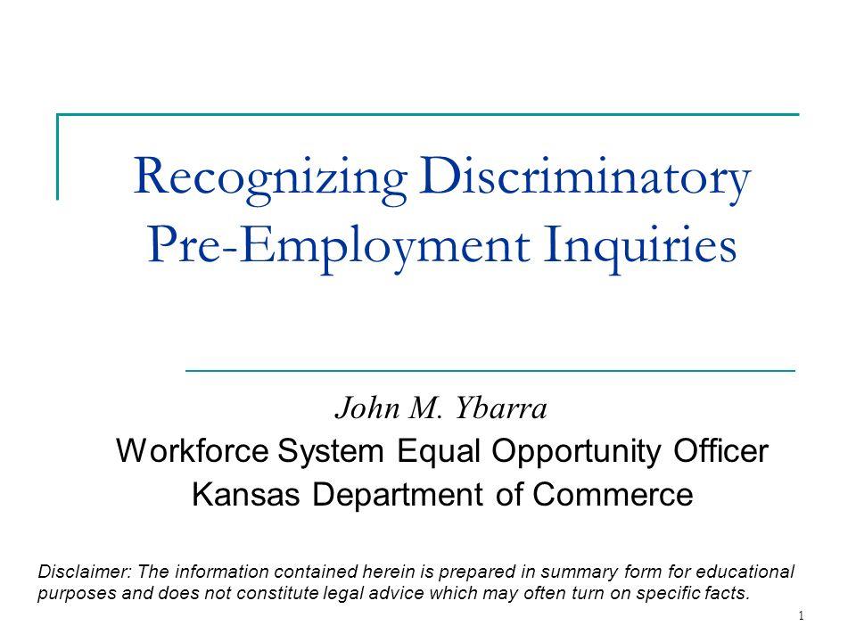 Recognizing Discriminatory Pre-Employment Inquiries