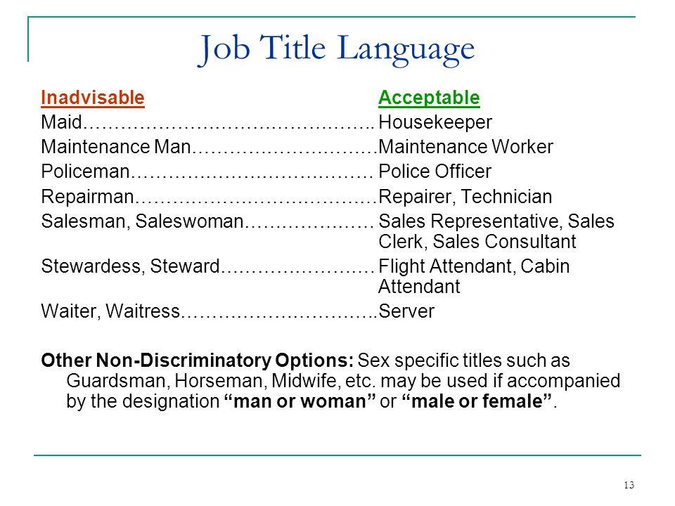 Job Title Language Inadvisable Acceptable