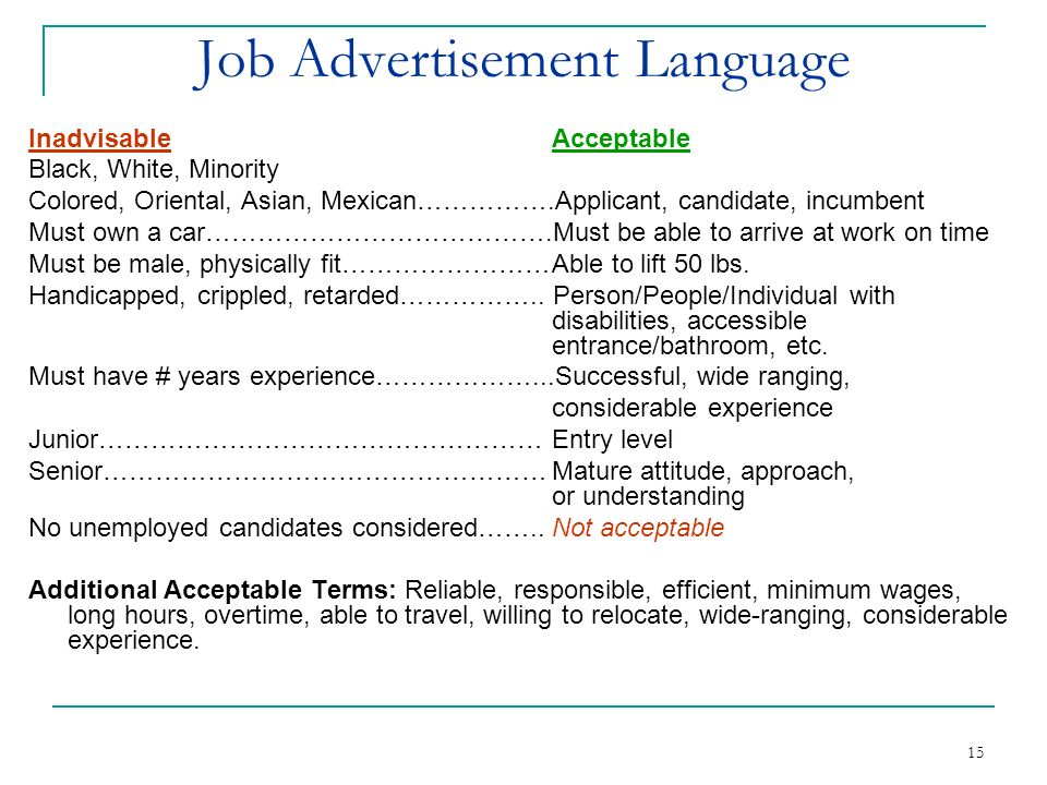 Job Advertisement Language