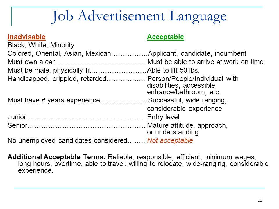 Job Advertisement Language