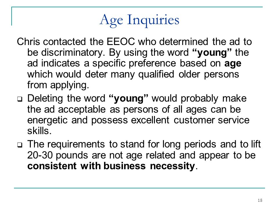 Age Inquiries