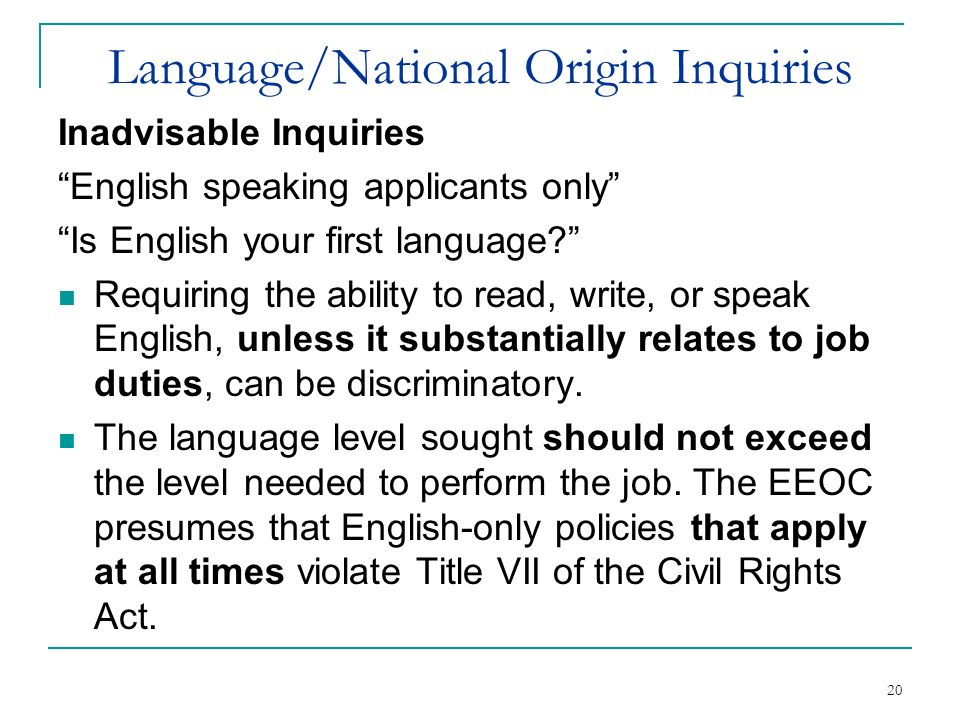 Language/National Origin Inquiries