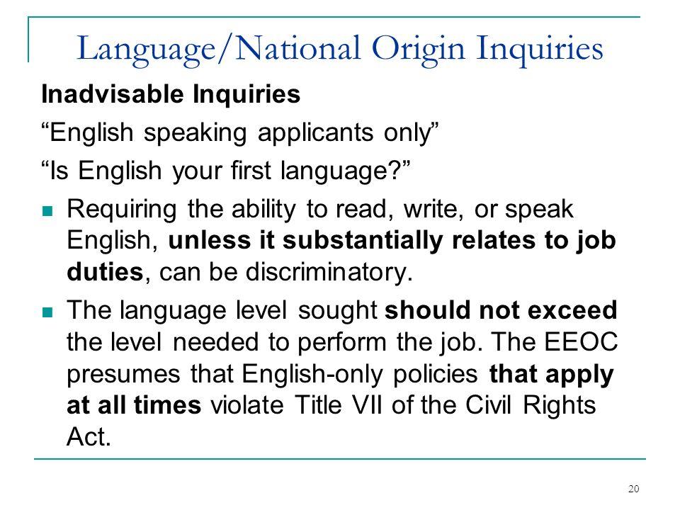 Language/National Origin Inquiries
