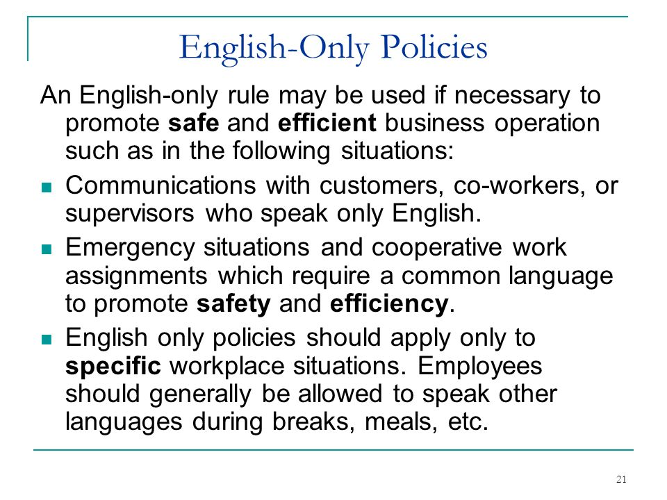 English-Only Policies