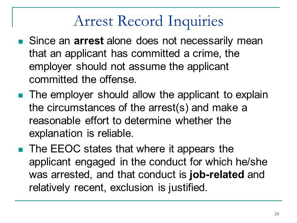 Arrest Record Inquiries