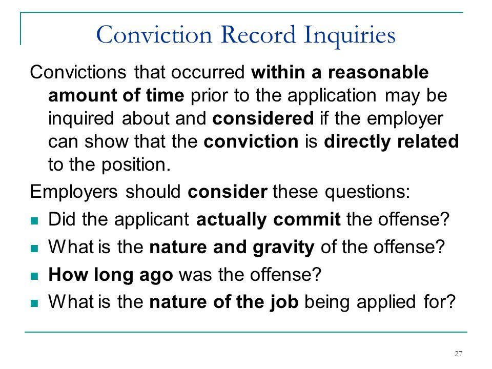 Conviction Record Inquiries