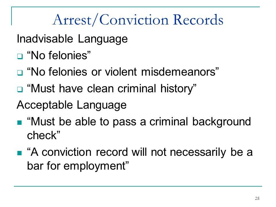 Arrest/Conviction Records