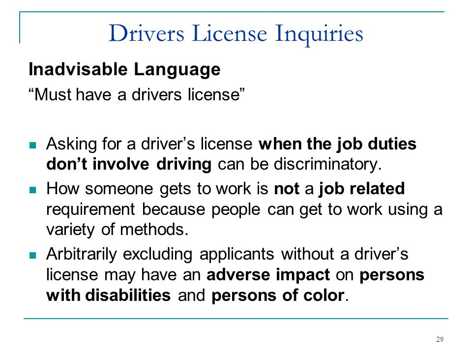 Drivers License Inquiries