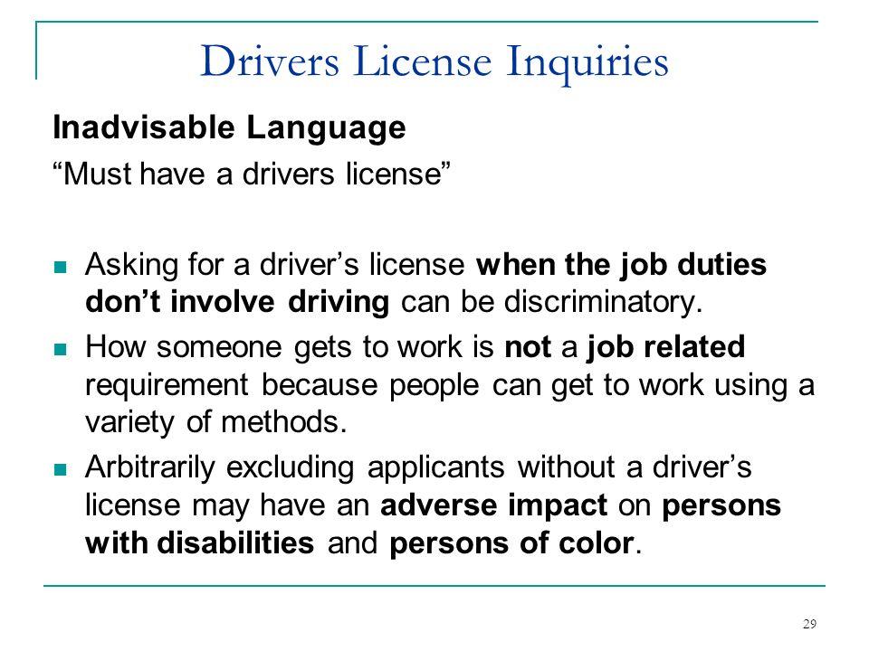 Drivers License Inquiries