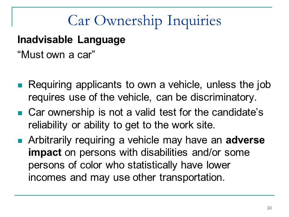 Car Ownership Inquiries