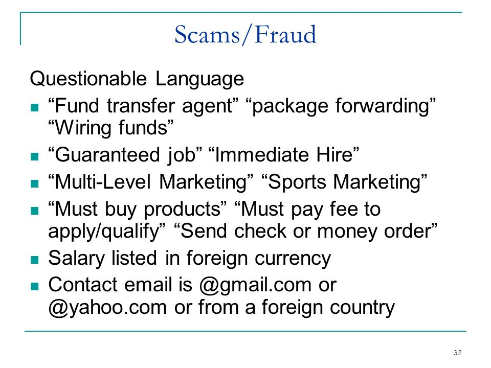 Scams/Fraud Questionable Language
